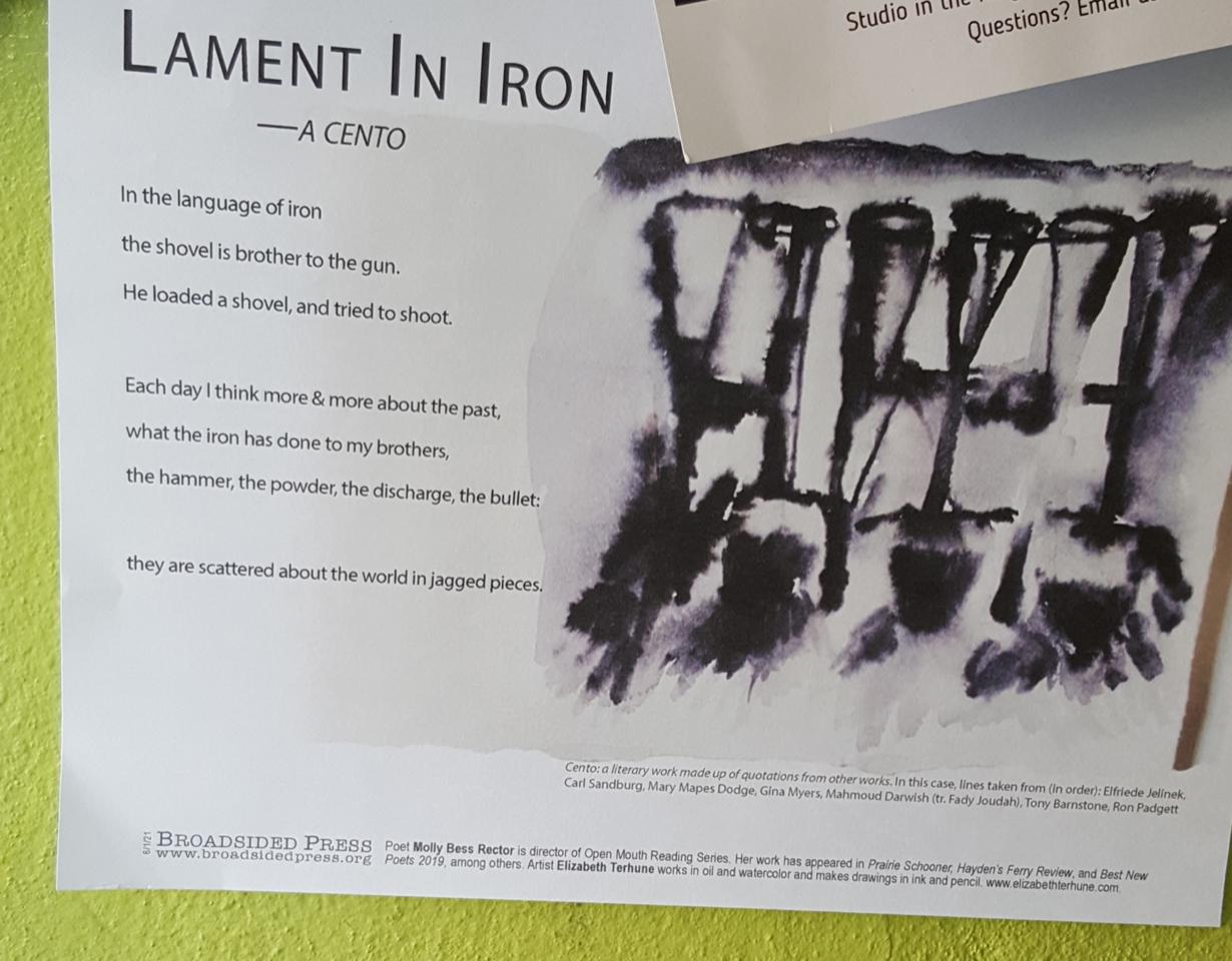 """Closeup of broadside of """"Lament in Iron"""", the photo taken by artist Elizabeth Terhune."""
