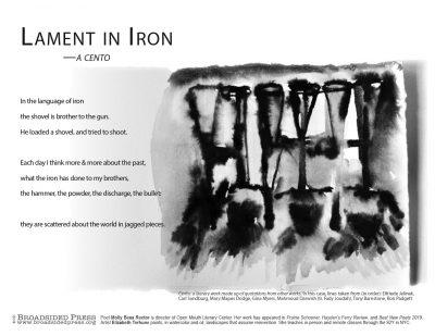 "Broadside of ""Lament in Iron"", poem by Molly Bess Rector with art by Elizabeth Terhune."