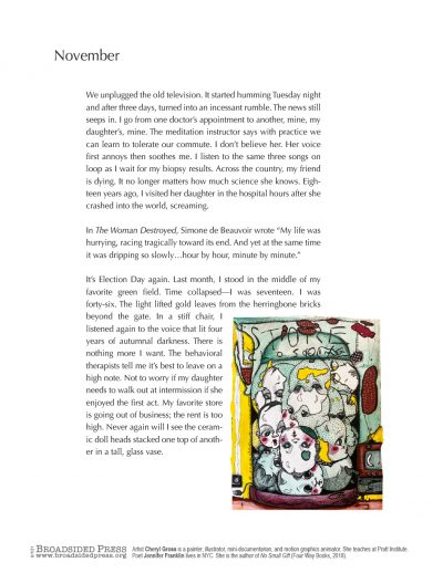 "Broaadside of ""November,"" poem by Jennifer Franklin with art by Cheryl Gross."