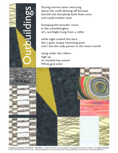 """Broadside of the poem """"Outbuildings"""" by Dargie Anderson with art by Kate Baird."""