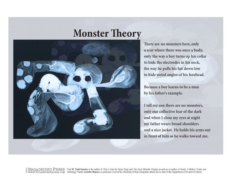 """Broadsided """"Monster Theory"""" by poet W. Todd Kaneko and artist Jennifer Moses."""